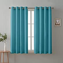 Cloth Fusion Valance Room Darkening 2 Pc Blackout Curtains for Window 5 Feet- Peacock Blue