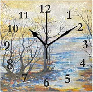 FunnyCustom Vintage Painting Square Wall Clock 7.8 Inch Hanging Clock for Living Room/Kitchen/Bedroom