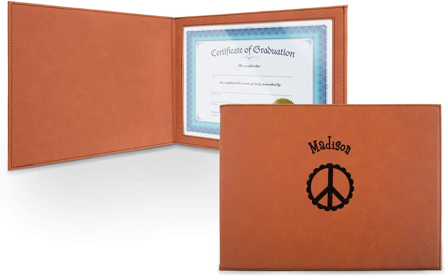 Don't miss the campaign Peace Sign Leatherette Max 78% OFF Certificate Holder Personalized - Front