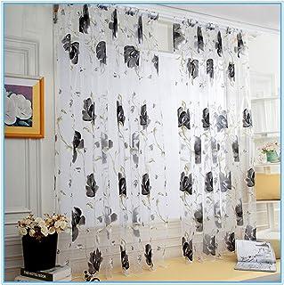 2PCS Pfingstrose Vorhang Transparent Chiffon Vorhang Badezimmer Duschvorhang Wohnzimmer Schlafzimmer Babyzimmer Dekoration 100 * 270CM