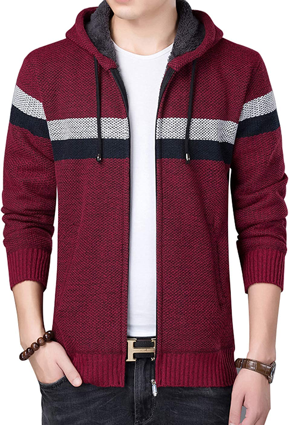 chouyatou Men's Casual Stripe Chest Faux Fur Lined Knitted Cardigan Sweater Hood