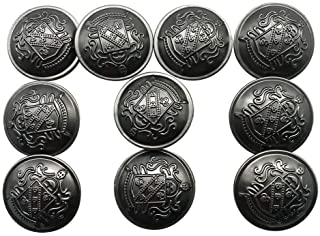 10pcs Antique Black Metal Sewing Buttons with Shank for Blazers,Suits,Jackets,Coat, Measuring 1 inch, Q2045