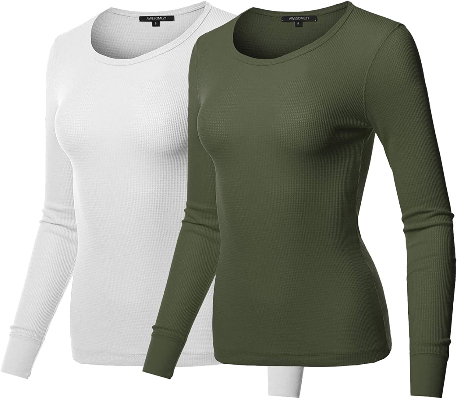 Awesome21 Women's Casual Solid Basic Crew Neck Long Sleeves Thermal Top