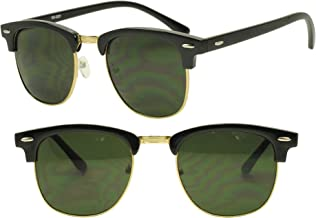 Round Half Frame Gold Silver Clubmaster Style UV400 Gradient Lens Sunglasses Casual Unisex Half Rim 80's Shades