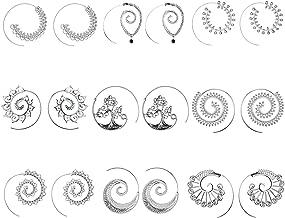 9 Pairs Golden Bohemian Vintage Tribal Swirl Spiral Hoop Earrings Set For Women