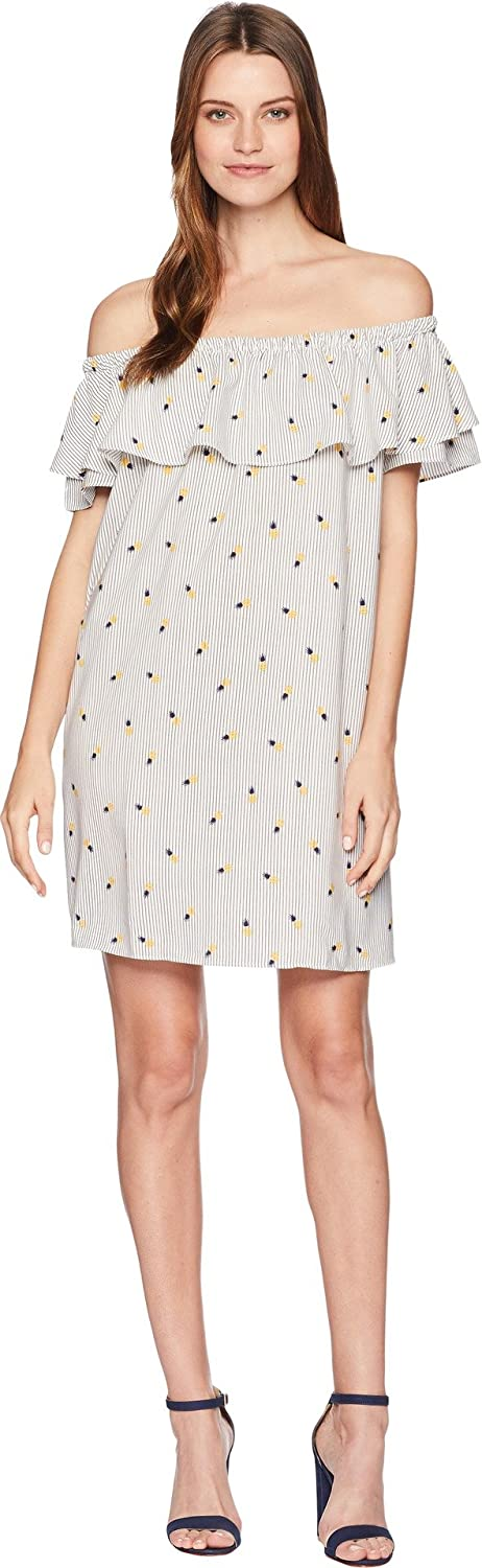 American pink Womens Pineapple Print Off The Shoulder Dress