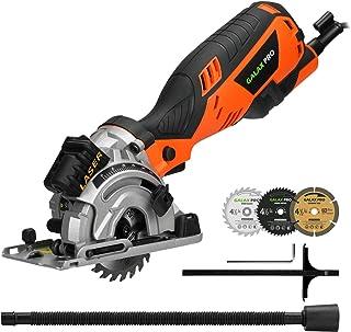 GALAX PRO Circular Saw, 600W 4500RPM Mini Circular Saw with Laser, Max. Cutting Depth 28.5mm, 3 Saw Blades 89mm(24T, 44T, ...