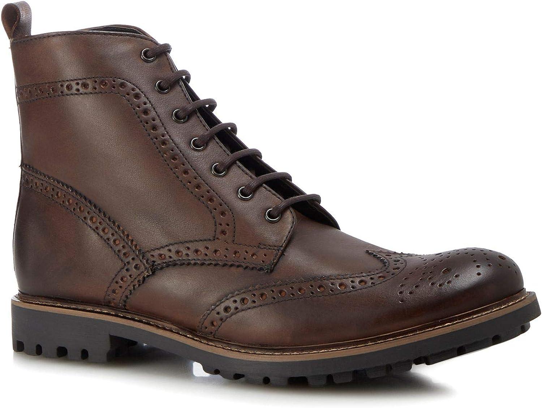 Base London Men Tan Leather 'Lisbon' Brogue Boots