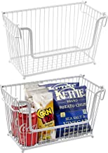Sorbus Farmhouse Wire Stackable Baskets with Handles, Potato and Onion Storage, Vegetable Baskets for Kitchen, Organizers ...