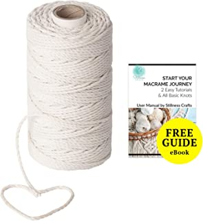 3mm Macrame Cord 109 yd - Best for Plant Hanger Wall Hanging Craft Making Macrame Supplies Cotton Cord Natural White Macrame Rope by Stillness Crafts