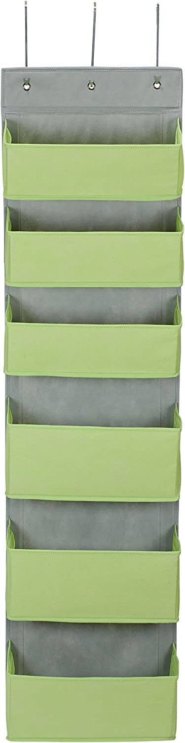 Household Essentials 2167-1 Over-The-Door 6 Pocket Organizer   Store in Pantry, Closet, and Bathroom Lime Green