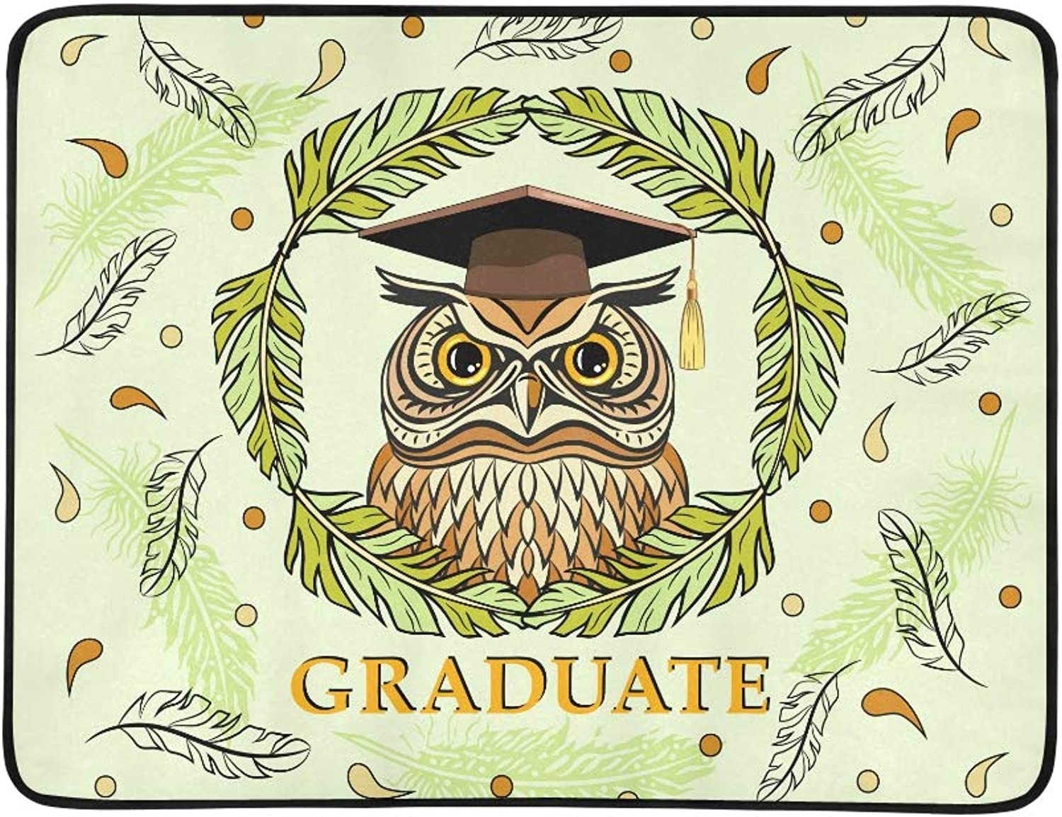 Decorative Illustration with A Graduate Owl Pattern Portable and Foldable Blanket Mat 60x78 Inch Handy Mat for Camping Picnic Beach Indoor Outdoor Travel