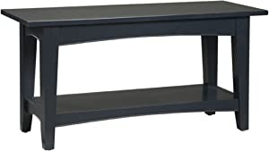 Alaterre, Charcoal Gray Shaker Cottage Bench with Shelf
