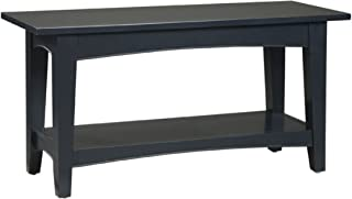 Alaterre Shaker Cottage Bench with Open Shelf, Black