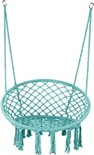 LAZZO Hammock Chair Hanging Knitted Mesh Polyester Rope Macrame Swing, 260 Pounds Capacity, 23.6