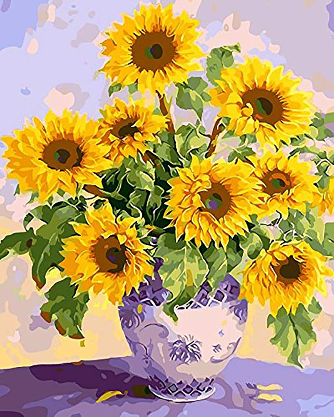 """iCoostor Paint by Numbers DIY Acrylic Painting Kit for Kids & Adults Beginner – 16"""" x 20"""" Beautiful Sunflower Pattern with 3 Brushes & Bright Colors"""