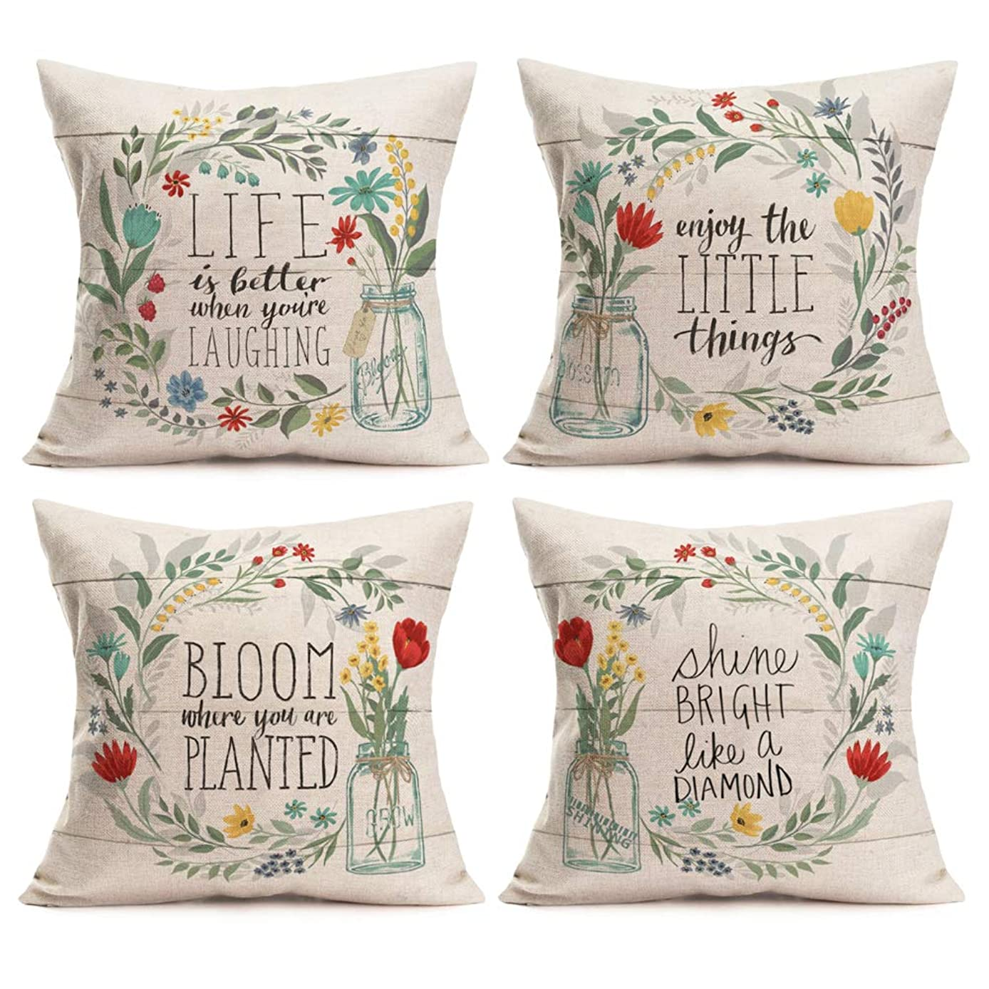 Asamour Set of 4 Rustic Floral Farmhouse Decor Throw Pillow Case Cushion Cover Vintage Flowers Wreath Inspirational Quote Pillows Cotton Linen 18x18 Inch Square Pillowcases for Patio Couch,Wood Grain