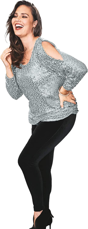 Roaman's Women's Plus Size Cold-Shoulder Sequin Tunic Long Shirt