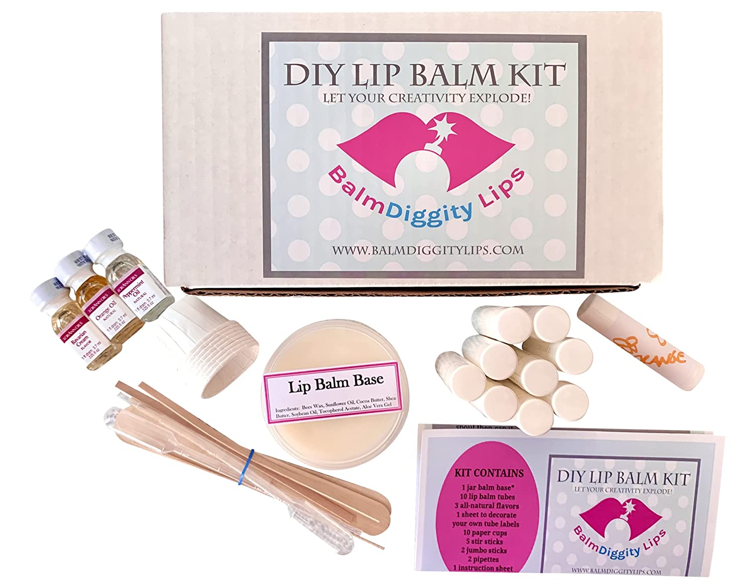 Lip Balm making kit DYI 20 piece set, make 20 Chap Sticks, includes melt  and pour balm and all you need to craft Balmdiggity Lips