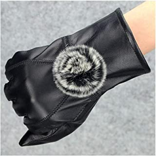 SHENTIANWEI Women's Leather Gloves Points and Velvet Thickening Riding Warm Winter Gloves (Color : Thicken, Size : M)