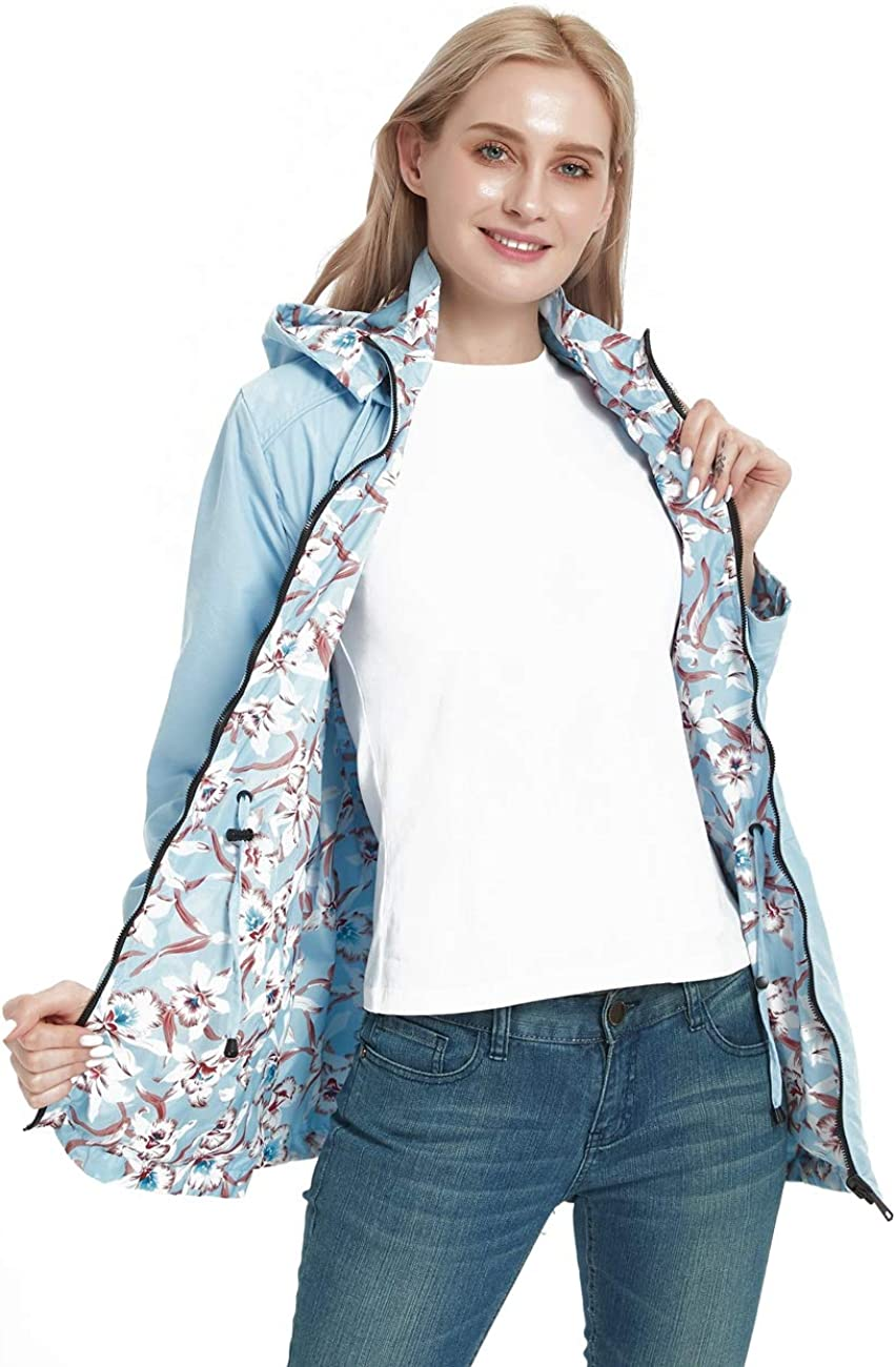 Bellivera Women's Casual Double Sided Coat Hooded ,The Thin Printed Jacket Worn on Both Sides