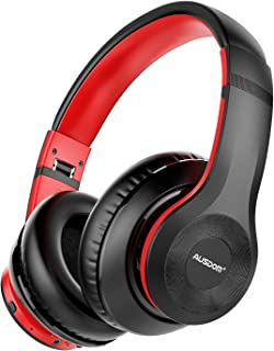 AUSDOM ANC10 Wireless Active Noise Cancelling Headphones, Bluetooth 5.0 Over Ear Headphones with Mic, Soft Foldable Earpads, Hi-Fi Deep Bass Headset for Travel Work TV PC Mobile Airplane Red-Black
