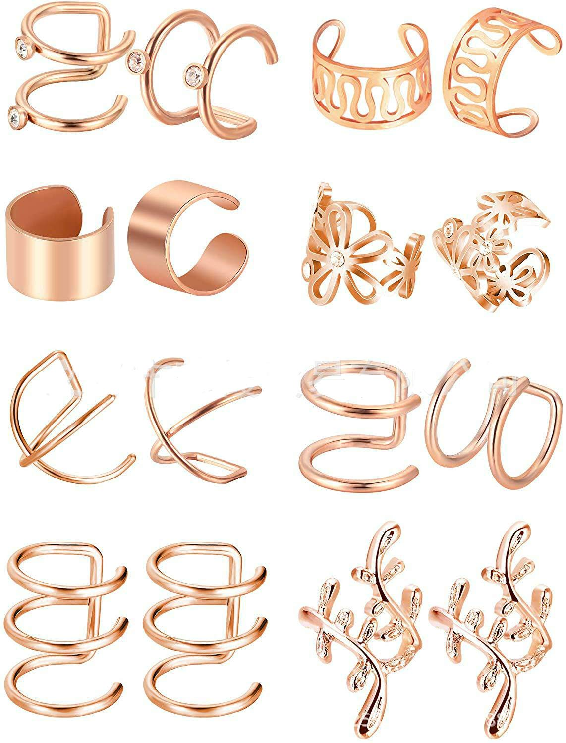 Sither 8 Piece Women Earrings Cuff Clip for Girls Ear Clips Ear Wraps Cuff Helix Cartilage Clip On for Pierced Ears Christmas Jewelry Gift for Her (rose gold)