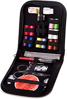 L-Hydrone Sewing Needles for Kids DIY Sewing Supplies Organizer Filled 28 Premium Sewing Supplies with Scissors, Thimble, Thread, Sewing Needles, Tape Measure Etc,Carrying Case(Black S)