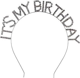 LUX ACCESSORIES Silvertone It's My Birthday Crystal Rhinestones Statement Fashion Wire Headband