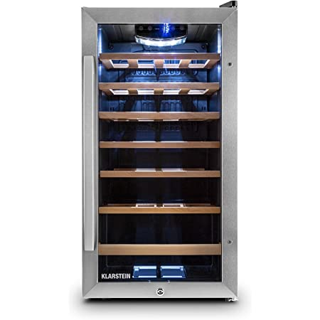 Klarstein Vivo Vino 26 - frigorifero per vini e bevande, 88 L, 26 bottiglie, funzionamento silenzioso, autonomo, sportello in vetro e acciaio inox, illuminazione interna a LED, nero-argento