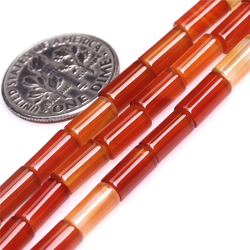 JOE FOREMAN 4x8mm Red Stripe Agate Semi Precious Gemstone Column Loose Beads for Jewelry Making DIY Handmade Craft Supplies 15