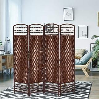 GOTOTOP Divisor de Habitación de 4 Paneles Separador de Espacios Plegable 170 x 160cm Biombo Separador de Bambú Natural y Papel Trenzado para Dormitorio, Salón y Oficina(Marrón)