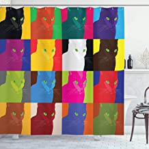 Ambesonne Cat Decor Shower Curtain by, Pop Art Style Featured Fractal Kitty Portraits Frame with Color Effects Artsy Print, Fabric Bathroom Decor Set with Hooks, 70 Inches, Multi