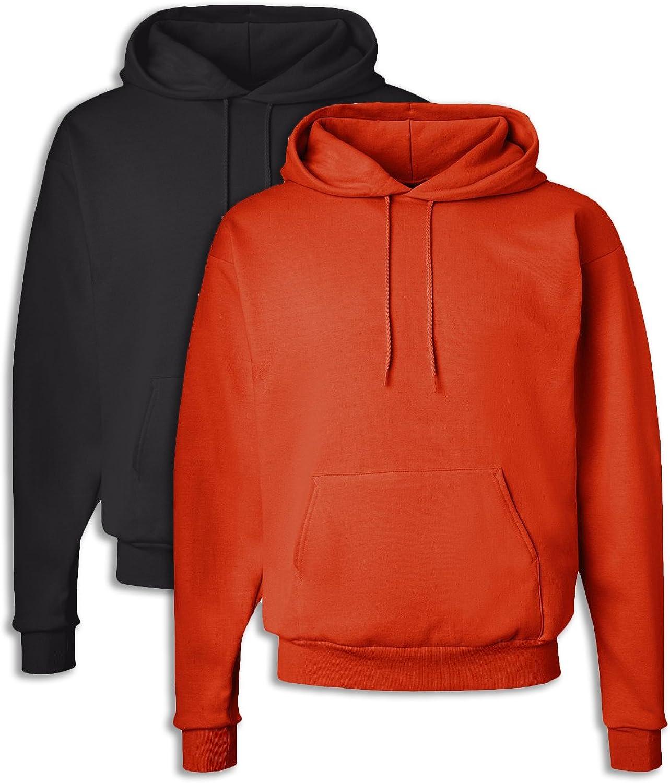Hanes P170 Mens EcoSmart Hooded Sweatshirt XL 1 Black + 1 orange