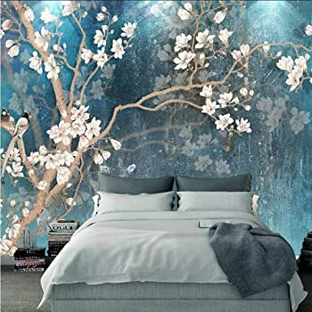 Vintage Birds And Flowers Design Photo Wall Mural Fleece Easy-Install Paper