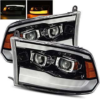 AlphaRex Polished Black For 09-18 Ram 1500/10-18 Ram 2500/3500 DRL/Signal LED Dual Projector Headlights