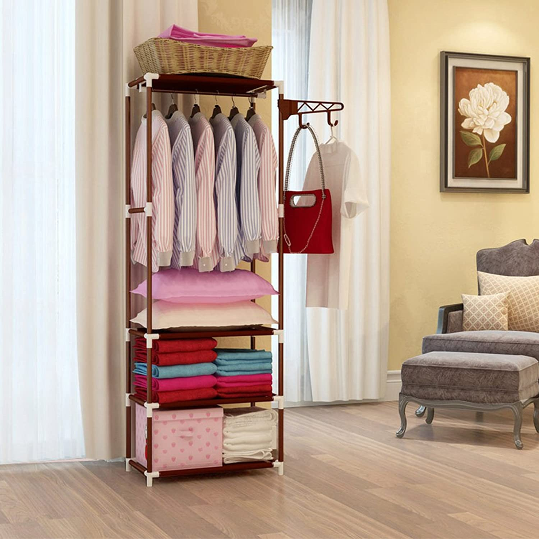 AIDELAI Coat Rack Multi-Functional Coat Rack Floor Hangers Hanging Clothes Rack Shelves (color   Brown)