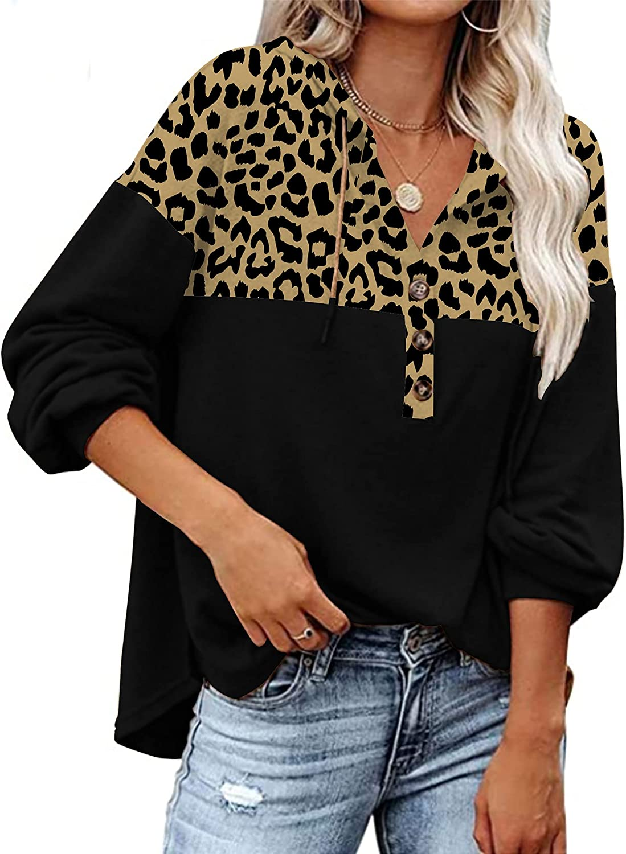LOLLO VITA Women's Hoodies Button Up Loose Hooded Sweatshirt Casual Lantern Sleeve Pullover Tops