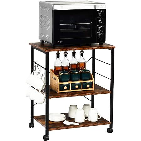 Lovinland 5 Tier Metal Kitchen Baker Rack Black Microwave Storage Rack Oven Stand with Wine Storage Organizer Workstation Display Storage Rack for Kitchen Living Room