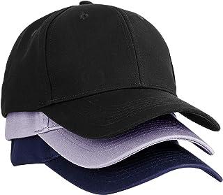 MEINICY 3PCS Plain Structured Baseball Cap, Cotton Dad Hat Fits Men Women, Adjustable Low Profile (Black+Gray+Navy)