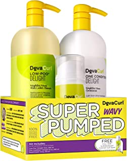 Deva Curl SUPER PUMPED for WAVY HAIR Low-Poo Delight, One Condition Delight 32oz Super Cream 5.1oz