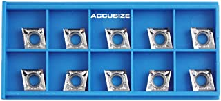 Accusize Industrial Tools Ccgt32.51-Ak-H01 Uncoating Carbide Inserts, 10 Pcs, for Machining Aluminum, Akh01x10