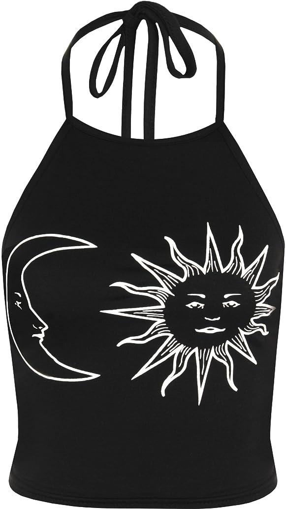 WearAll Women's Sun Moon Print Halter Neck Sleeveless Crop Vest T-Shirt Top