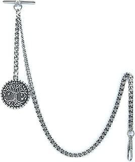 Albert Chain Pocket Watch Curb Link Chain Silver Plating Life Tree Design Fob T Bar AC57