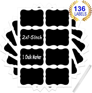 Chalkboard Labels with 1 Chalk Marker Reusable Craft Kitchen Jar Stickers Waterproof for Pantry,Labeling Mason Jar, Parties, Craft Rooms, Weddings, Office, Home & Kitchen (136pcs)