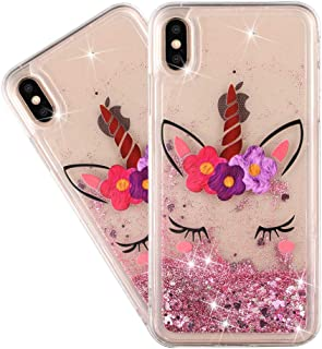 HMTECHUS iPhone 10 case for Girl Glitter Liquid Sparkle Floating Shiny Quicksand Clear Soft TPU Silicone Shockproof Protective Bumper Thin Cover for iPhone X/XS Bling Eyelash Unicorn XY