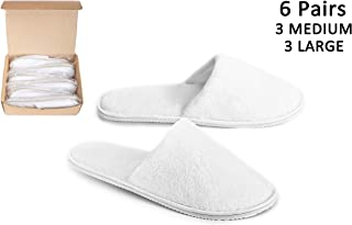 DŠ Stuff Spa Slippers - 6 Pairs (White, 3 Large,3 Medium) Cotton Coral Velvet Closed Toe Fits Most Men and Women, for Home Hotel Guest Travel Used, Deluxe Padded Sole for Extra Comfort, Non-Slip