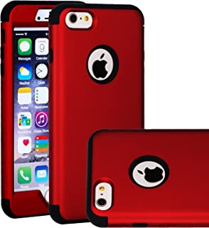 SAVYOU iPhone 6 Plus / 6S Plus Case, Shock-Absorbing Flexible Durable TPU Bumper Case Anti-Slip Front and Back Hard PC Defensive Protection Cover for Apple iPhone 6 Plus / 6S Plus Red