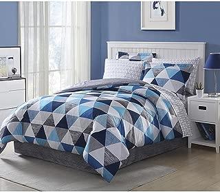 Blue Gray White Comforter Set Full Size Bedding Set 8 Piece Comforter Set with Bonus Free E-book