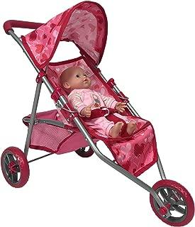 The New York Doll Collection Dolls Jogging Stroller - Pink Hearts Designed Jogging Stroller for Dolls